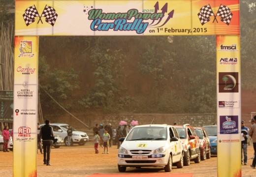WOMEN CAR RALLY FLAGGED OFF